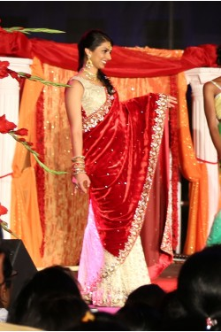 Bridal Maroon and Beige Velvet Saree