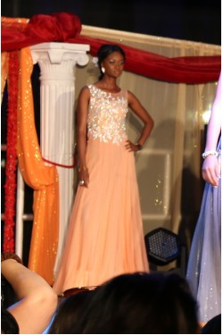 Bridal Peach Evening Gown