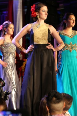 Bridal Black and Gold Evening Gown