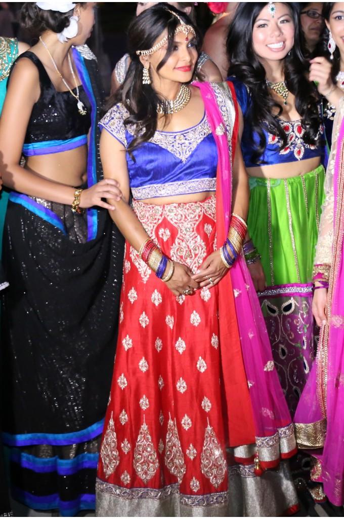 Bridal Three Color Raw Silk Lehenga