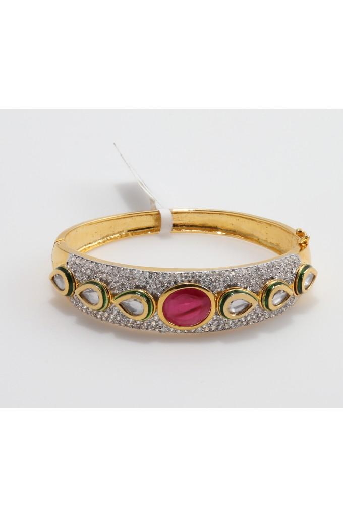 Cubic Zirconia and Kundan Fusion Bracelet
