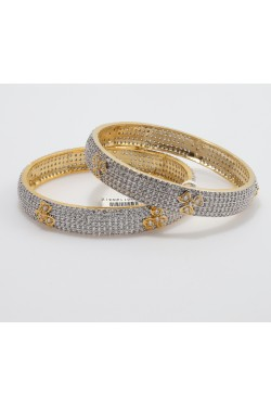 Cubic Zirconia Studded Bangles with Flower Pattern