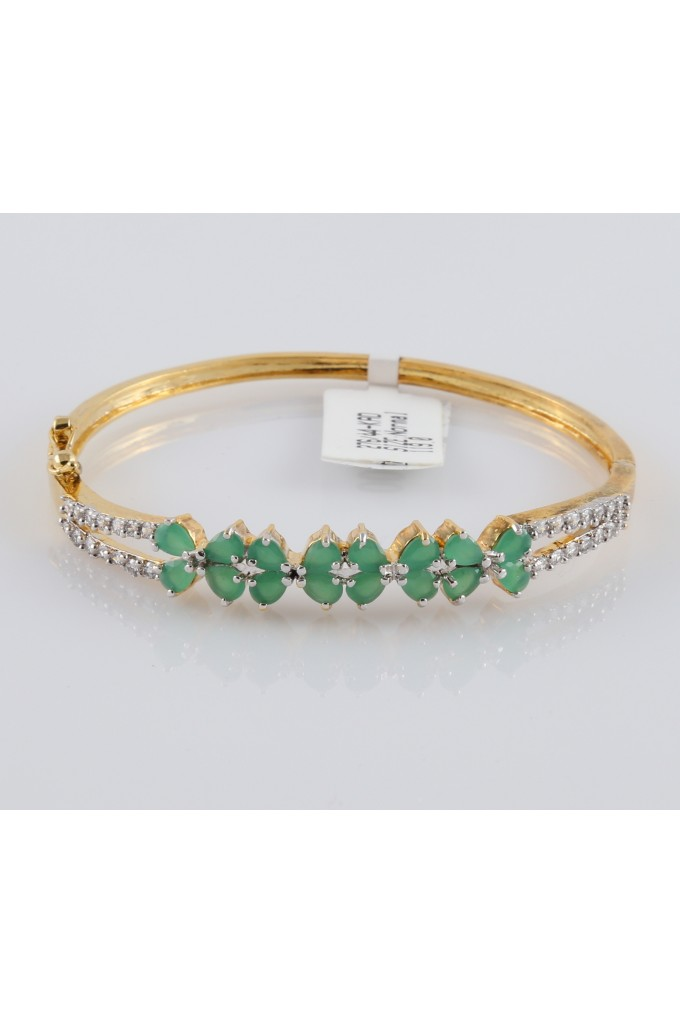 American Diamond Studded Bracelet with Semi Precious Emerald