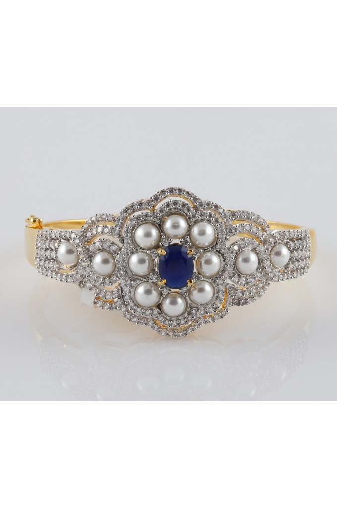 American Diamond and Pearl Studded Bracelet