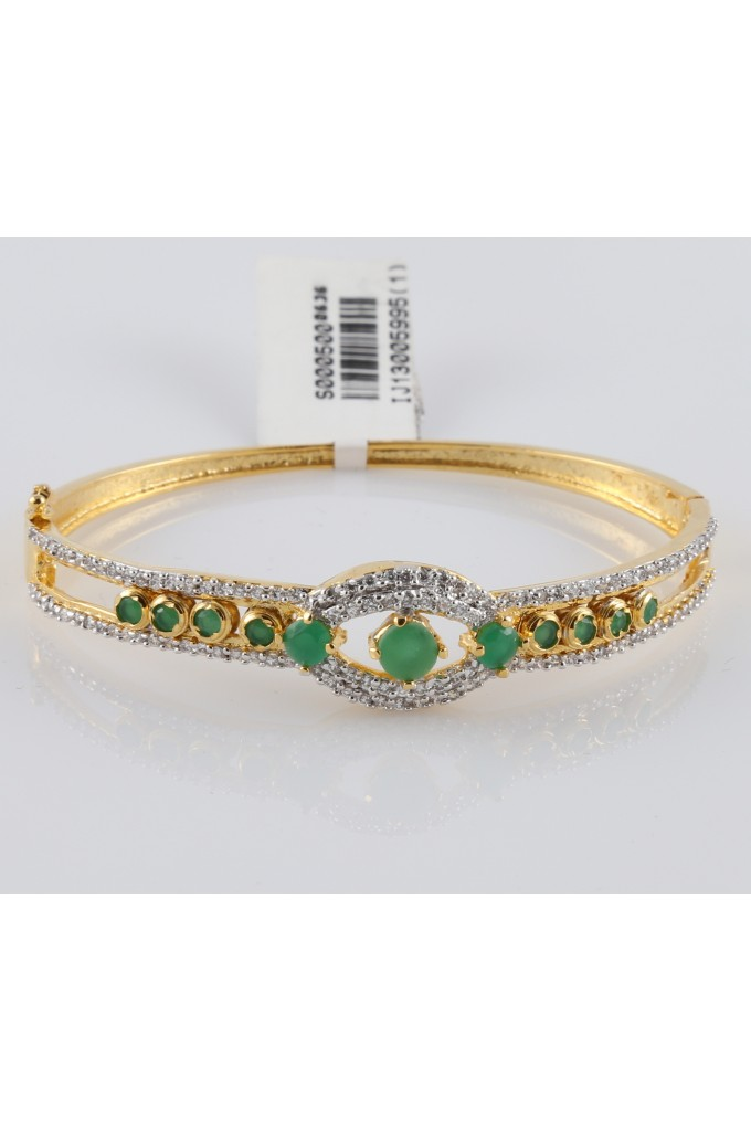 Cubic Zirconia and Dancing Emerald Studded Bracelet
