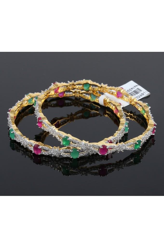 CZ Bangles with Ruby and Emerald Setting