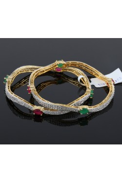 Contemporary American Diamond Bangles with Colored stones