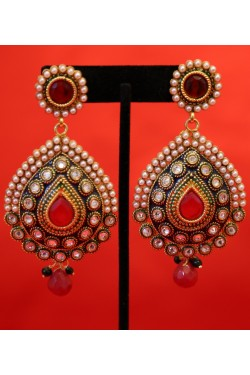 Antique Long Polki Earrings