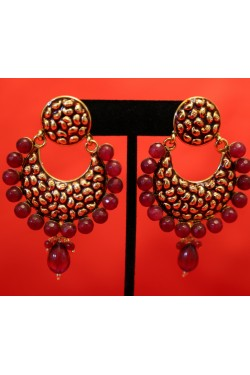 Antique Gold Earrings with Red stones