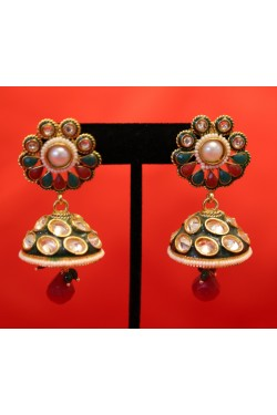 Ethnic Polki Jhumka Earrings