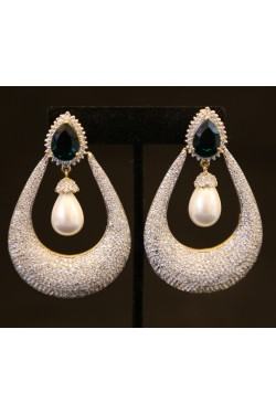 American Diamond Studded Long Earrings with Pearl