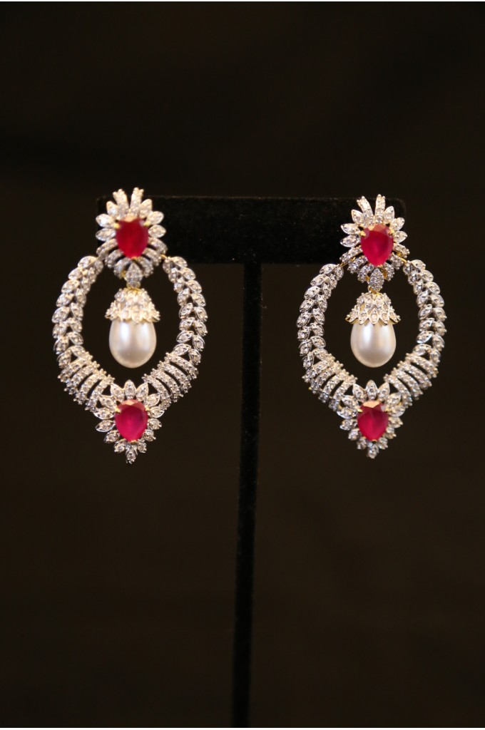 American Diamond Studded Earrings With Ruby