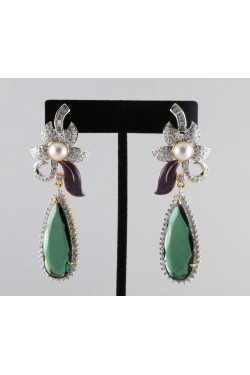 American Diamond Flower Pearl Earrings