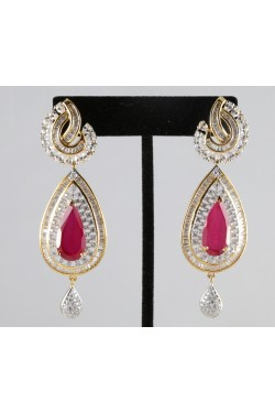 American Diamond Baguette Earrings with Ruby