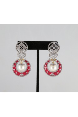 American Diamond Earrings with Pink Meena
