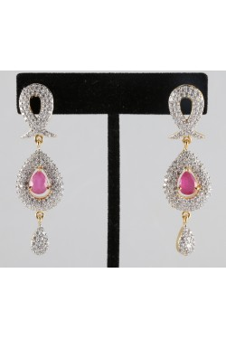 American Diamond Elegant Earrings with Ruby