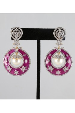 American Diamond Studded Earrings Meena Work