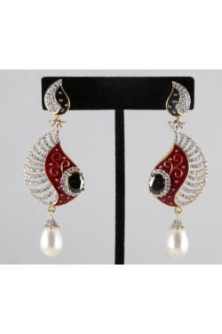 American Diamond Earrings with Black and Red Meena
