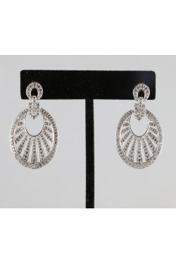 American Diamond Studded Oval Earrings