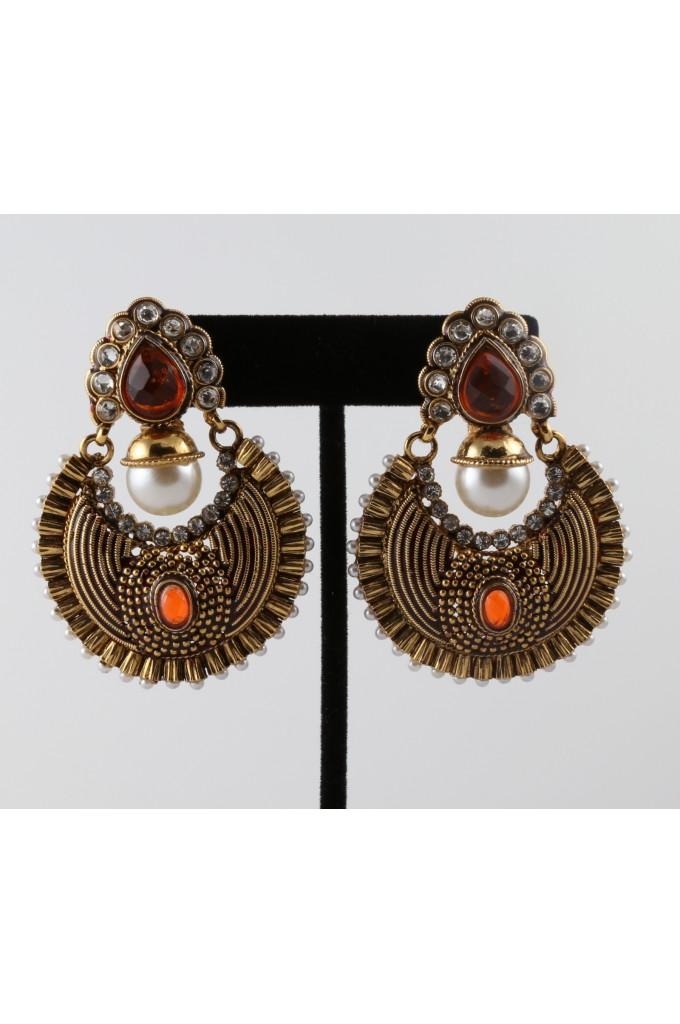 Antique Style Earrings with Orange Stones