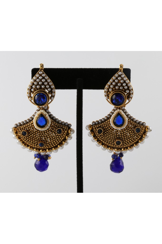 Antique Earrings with Faux Pearls and Blue stones