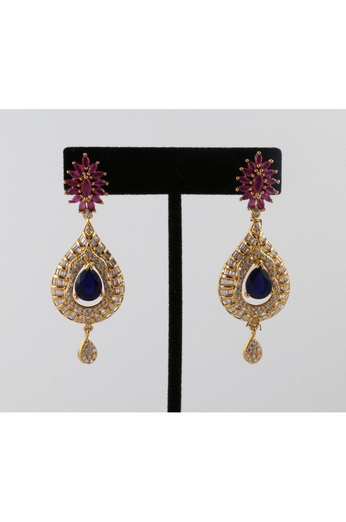 Cubic Zirconia Studded Earrings with a Blue and Pink Ston