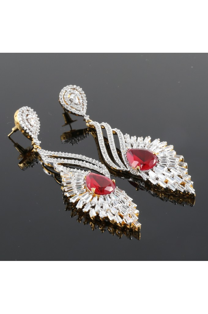 Stunning Cubic Zirconia Studded Long Earrings