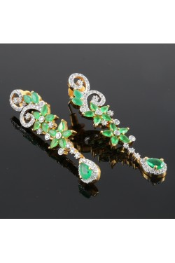 American Diamond and Emerald Studded Danglings