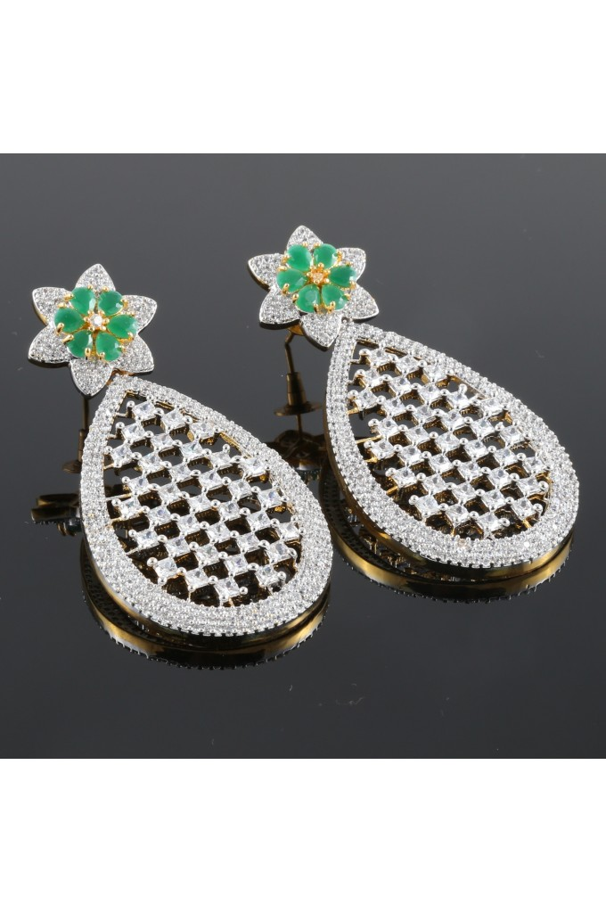 Cubic Zirconia Studded Pear Shape Danglings