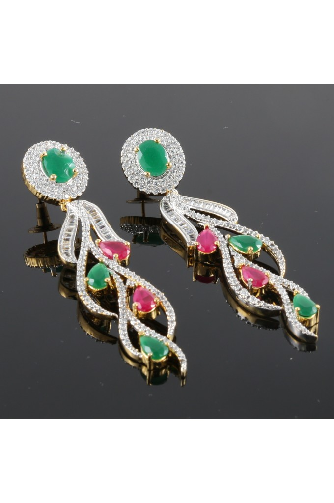 American Diamond Studded Contemporary Earrings