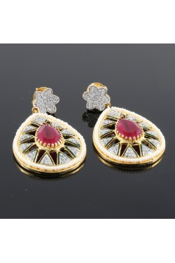 American Diamond Earrings with Faux Pearls and Ruby Stone