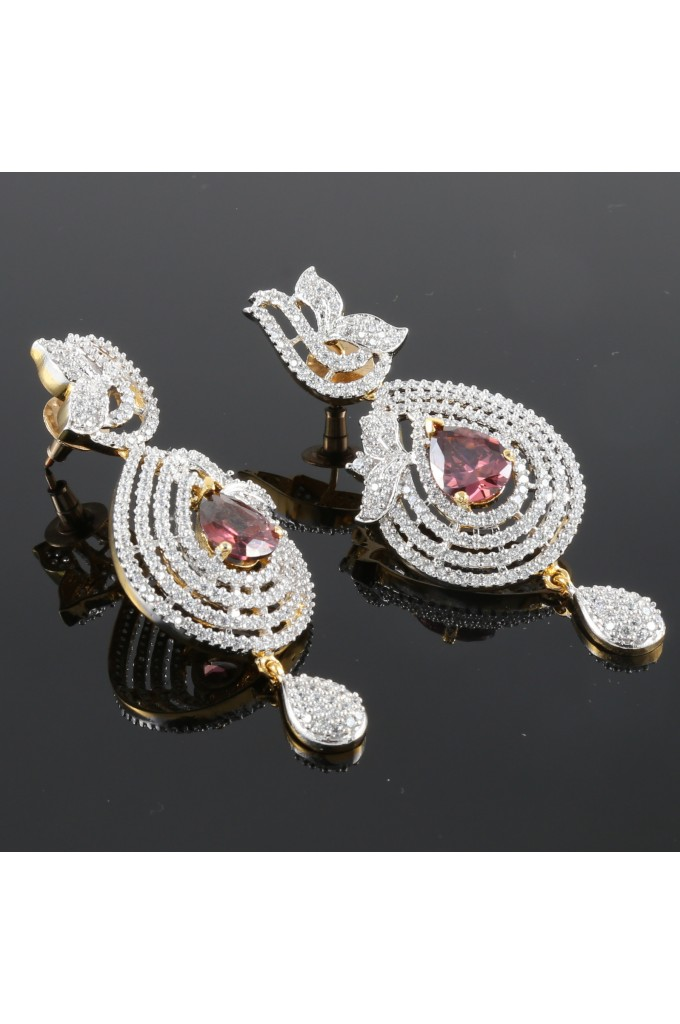 Cubic Zirconia Studded Earrings with Rhodolite Stone