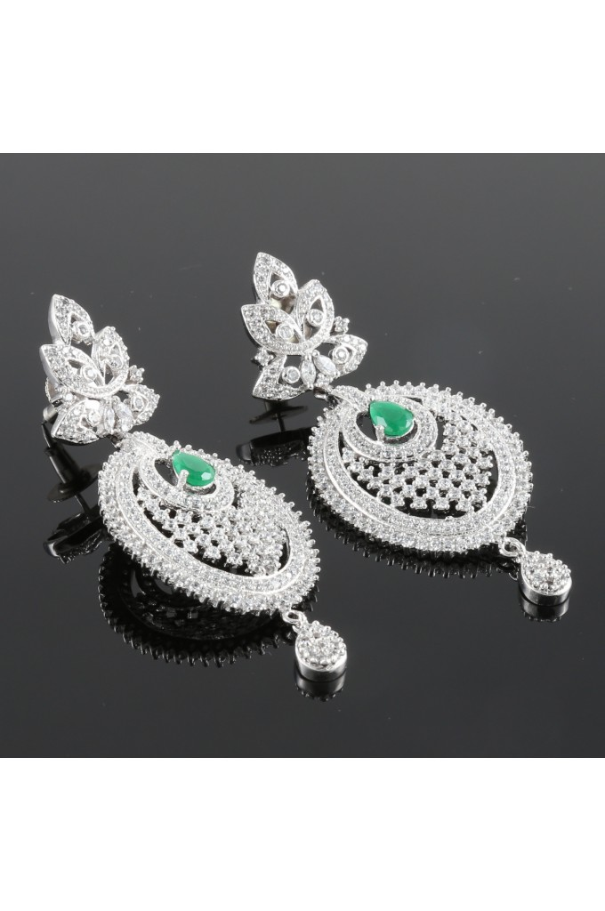 American Diamond Studded Earrings with an Emerald Stone