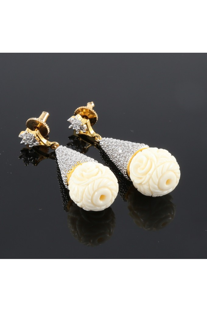 American Diamond Studded Earrings with Rose Droplet