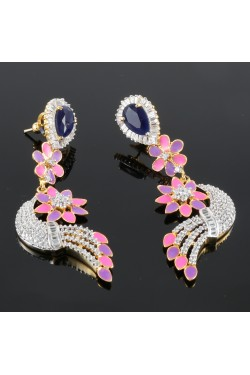 American Diamond Studded Earrings with Pink and Purple Enamel