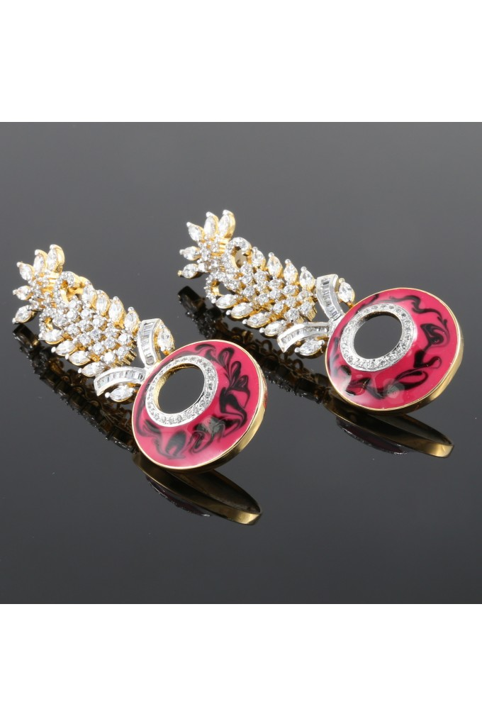 American Diamond Studded Earrings Pink Enamel