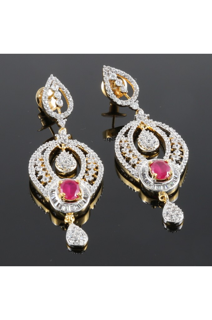 American Diamond and Ruby Studded Earrings
