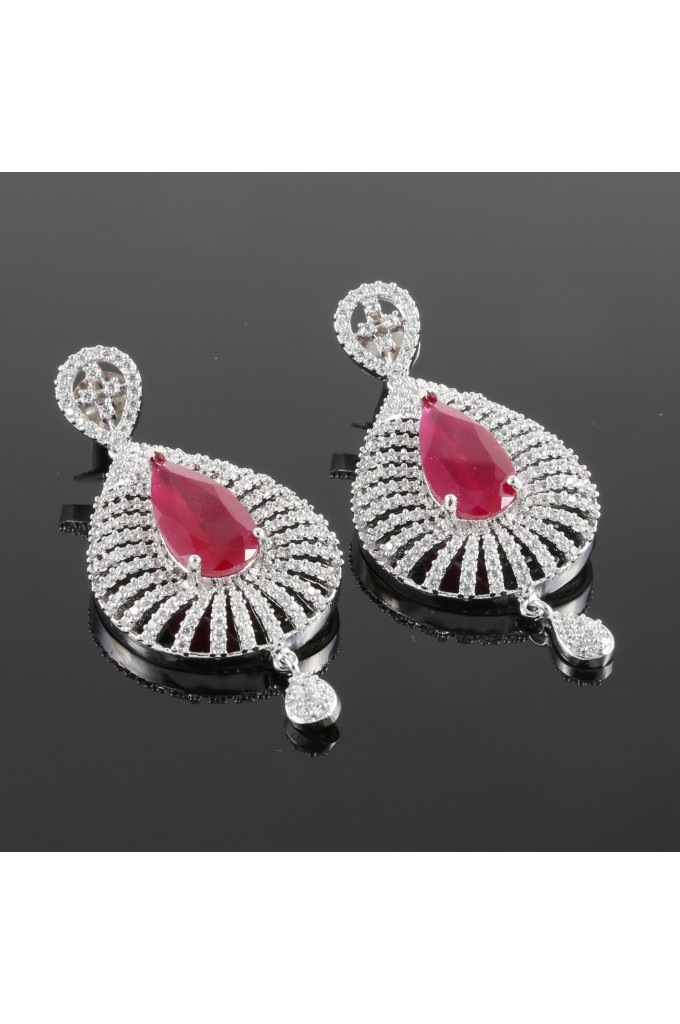 American Diamond Studded Pear Shape Earrings