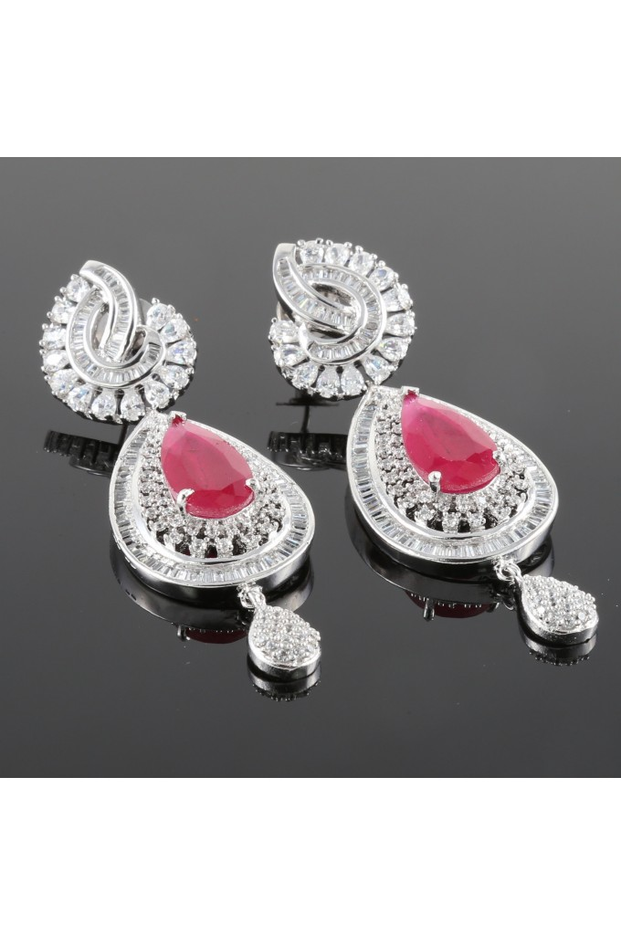 Cubic Zirconia and Ruby Studded Long Earrings