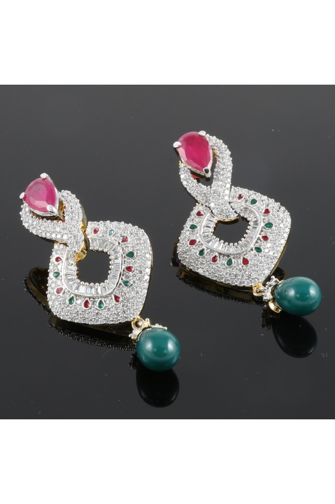 American Diamond Studded Earrings with Green Droplet
