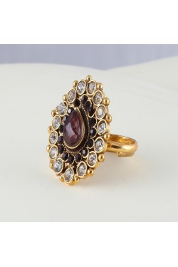 Antique Ring with Brown and White Stones
