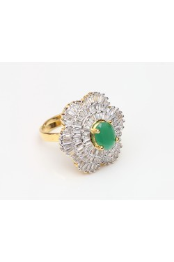 Cubic Zirconia and Emerald Studded Adjustable Ring