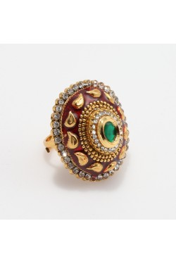 Antique Ring with Maroon Mina Karigari