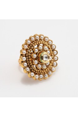 Antique Ring with Faux Pearls