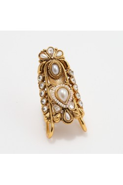 Faux Pearl Studded Long Antique Finger Ring