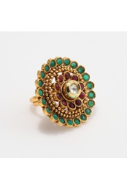 Green and Maroon Stone Studded Antique Finger Ring