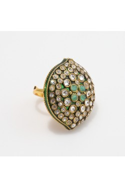 Green Enamel Finish Antique Finger Ring