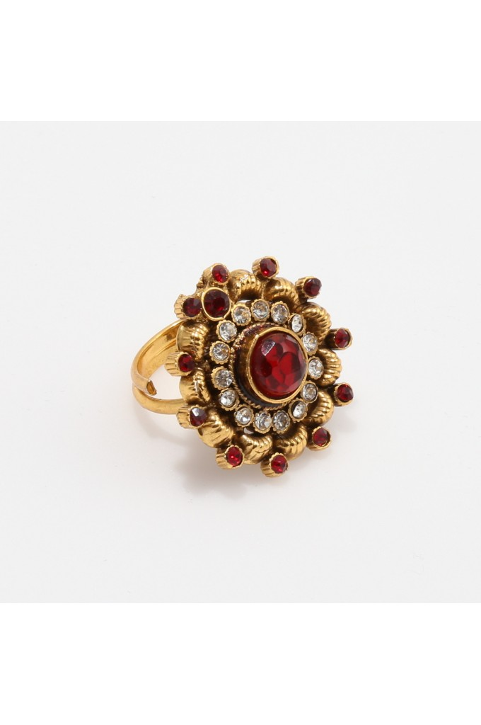 Red Stone Studded Antique Finger Ring