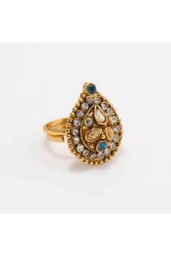 Blue and White Stone Studded Antique Finger Ring