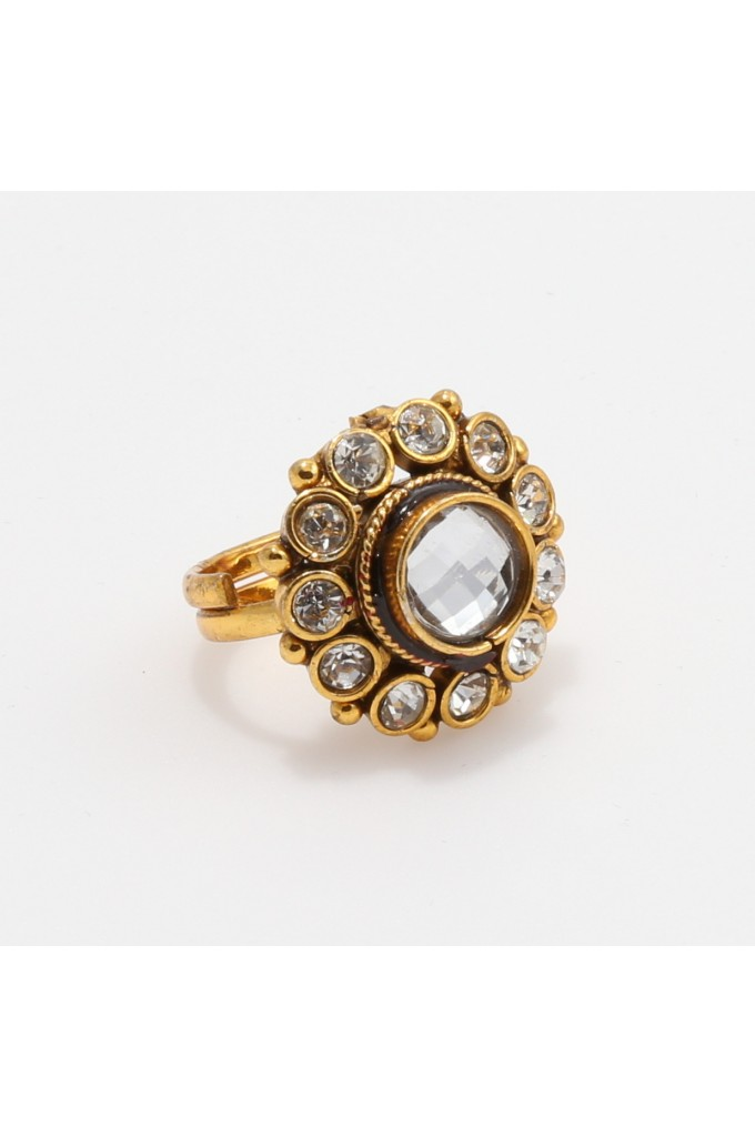 White Stone Studded Antique Finger Ring